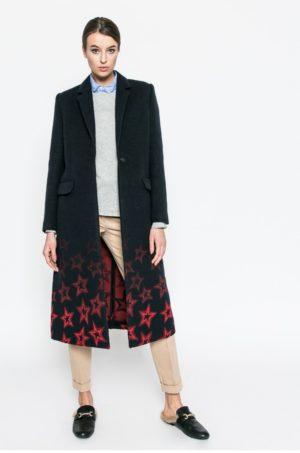 Palton dama negru din lana calduros si elegant de firma lung marca Tommy Hilfiger Norma