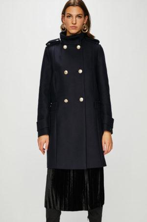 Palton bleumarin de firma Tommy Hilfiger lung in stil army masculin cu epoleti pe umeri si cusaturi decorative
