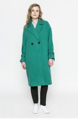 Palton verde turcoaz lung oversize elegant pentru ocaziile speciale din zilele reci de iarna Vero Moda Siena