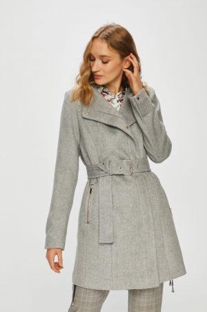 Palton dama gri casual cu buzunare incheiate si accesorizat cu cordon in talie Vero Moda Two Dope
