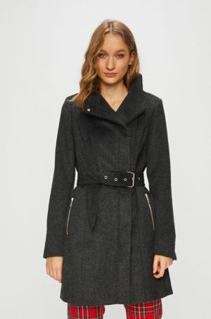 Palton dama negru casual cu buzunare incheiate si accesorizat cu cordon in talie Vero Moda Two Dope