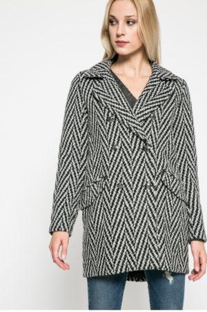 Palton scurt gri din material ornamentat cu dungi oblice albe si cu captuseala pe interior Vero Moda