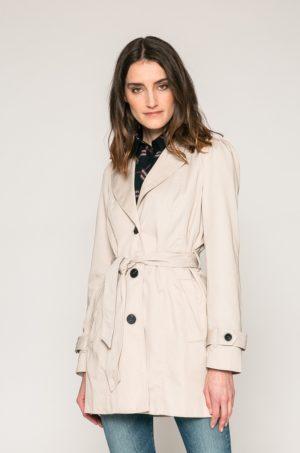 Palton dama bej casual de zi fara captuseala si fabricat din material neted Vero Moda
