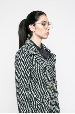 Palton dama elegant calduros de iarna de culoare gri din tesatura ornamentata cu carouri si linii Vero Moda