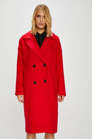 Palton oversize rosu lung pentru dama, realizat din material moale si calduros Vero Moda