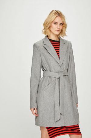 Palton gri deschis casual cu cordon in talie si fason mulat din material de lana combinat cu poliester Vero Moda
