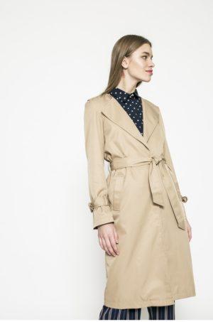 Palton dama bej lung cu curea in talie si epoleti pe umeri captusit pe interior Vero Moda