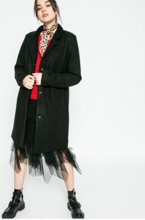 Palton dama negru lung de ocazie confectionat din material neted cu Buzunare oblice si croiala lejera Vila Camdon