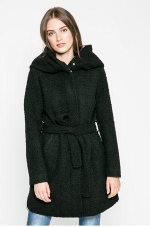 Palton dama casual negru scurt cu gluga si cordon in talie pentru sezonul de tranzitie Vila