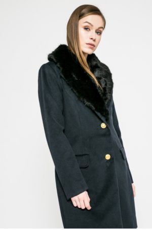 Palton dama bleumarin lung elegant cu nasturi si guler cu blanita pentru un confort sporit Vila