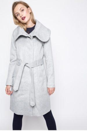 Palton gri lung elegant pentru femei, cu guler lat si cordon in talie Vila