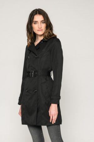 Palton negru cambrat cu cordon in talie si Maneci cu mansete incheiate si Buzunare oblice interioare Vila