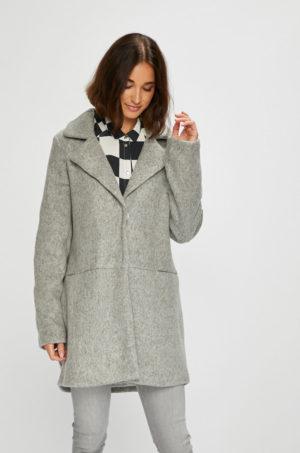 Palton gri casual de zi cu croiala dreapta si clapete clasice ce se inchide cu cleme Vila