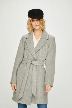 Palton dama Vila casual gri din material neted cu captuseala pentru sezonul de tranzitie