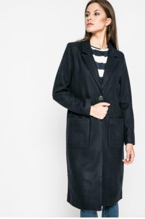 Palton bleumarin oversize in stil cocoon din tesatura neteda potrivit pentru tinute office sau de ocazie Vila