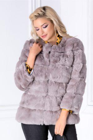 Blanita gri eleganta si moale cu insertii din piele ecologica atragatoare si feminina pentru ocazii speciale de seara Caren