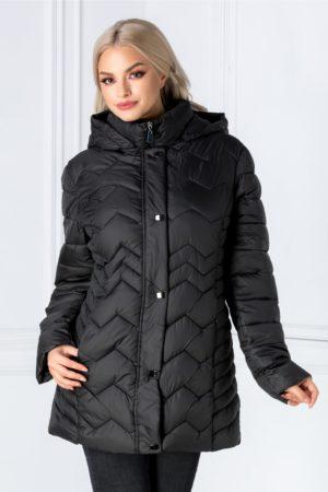 Geaca de iarna neagra casual cu textura matlasata gluga detasabila si buzunare discrete cu fermoare Clare