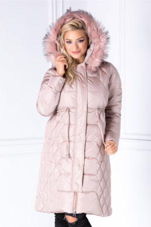 Geaca de iarna roz prafuit casual prevazuta cu snur sub bust si blanita decorativa detasabila Katia