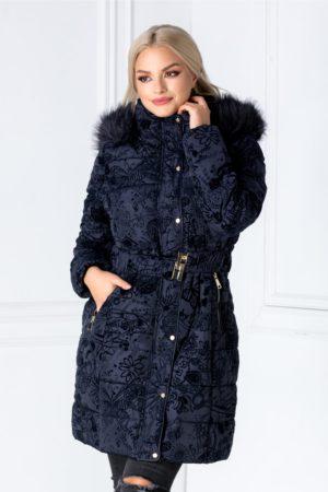 Geaca lunga bleumarin calduroasa de iarna cu insertii de flori din catifea imprimate perfecta pentru zilele reci Lavy