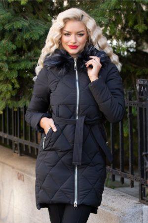 Geaca lunga de iarna neagra calduroasa cu striatii si curea in talie pentru zilele friguroase Marga