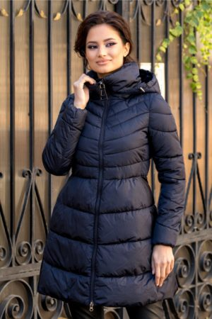 Geaca calduroasa bleumarin lunga casual cu guler si gluga perfecta pentru zilele friguroase