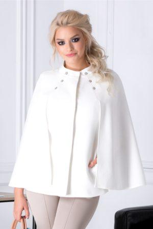 Jacheta de ocazie eleganta alba cu maneci tip capa prevazuta cu buzunare discrete si nasturi aplicati la baza gatului Ginette