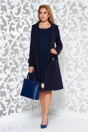 Palton bleumarin cambrat lung pana deasupra genunchilor si elegant realizat din stofa calitativa cu doua randuri de nasturi metalici Artista