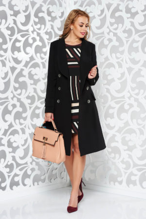Palton negru cambrat lung pana deasupra genunchilor si elegant realizat din stofa calitativa cu doua randuri de nasturi metalici Artista