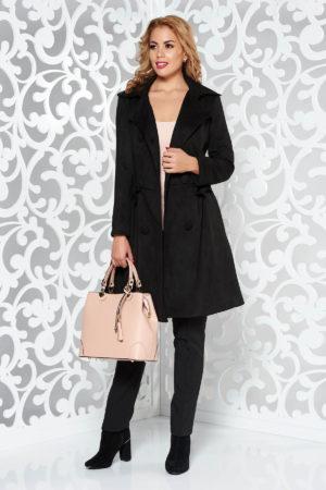 Palton dama negru in clos lung accesorizat cu fundite in zona taliei si prevazut cu buzunare laterale Artista