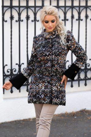 Palton dama negru elegant cu broderie in zig zag in tonuri de negru, caramiziu, gri si auriu Ginette