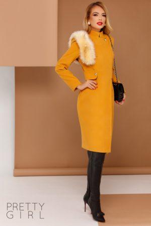 Palton elegant galben mustar lung pana la genunchi prevazut cu accesoriu blanita detasabila pe umar si guler ridicat Hanna