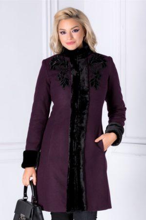 Palton de lux mov elegant de iarna realizat din din lana calduroasa cu insertii cu blanita si broderie LaDonna