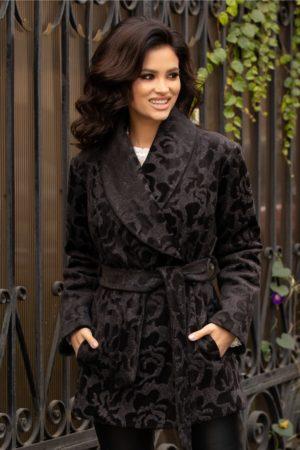Palton scurt elegant gri petrecut cu insertii florale catifelate negre si cu guler tip sal Ladonna
