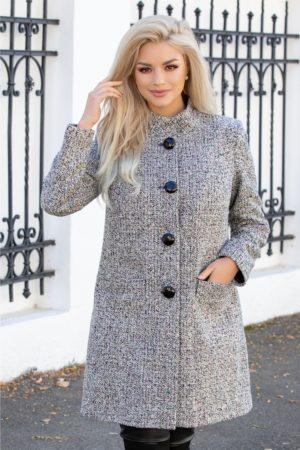 Palton calduros bej de iarna din lana accesorizat cu insertii colorate pentru o tinuta eleganta si cocheta Leonard Collection
