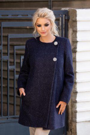 Palton calduros bleumarin de iarna din lana accesorizat cu insertii albe pentru o tinuta eleganta si cocheta Leonard Collection