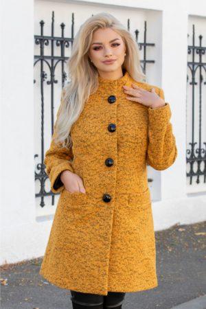 Palton calduros galben mustar de iarna din lana accesorizat cu insertii negre pentru o tinuta eleganta si cocheta Leonard Collection