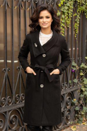Palton de iarna negru cu rever petrecut Leonard Collection cu buzunare discrete si nasturi argintii pentru un plus de feminitate si eleganta