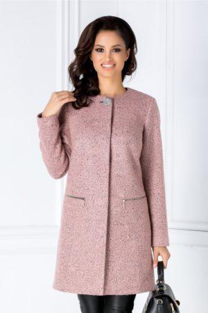 Palton roz elegant de ocazie realizat din lana calduroasa intr-un design modern si textura delicata cu aspect granulat Leonard Collection