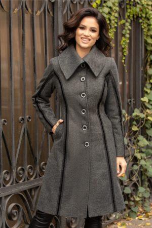 Palton gri antracit de ocazie accesorizat cu insertii din catifea cu sclipici si nasturi silver Moze
