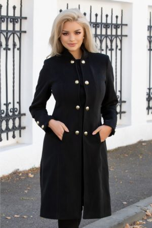 Palton dama de iarna in stil military negru cu nasturi aurii dubli prevazut cu buzunare discrete Moze