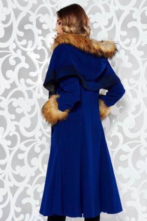 Palton albastru din lana cu insertii de blana ecologica si croiala in clos pe captuseala satinata cu manecile lungi StarShinerS