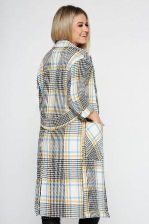 Palton crem in carouri pentru office cu croi larg si maneci lungi realizat din stofa din bumbac StarShinerS