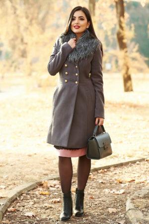 Palton gri inchis lung din lana calduroasa si groasa foarte elegant cu croiala usor evazata si guler cu blanita neagra artificiala StarShinerS