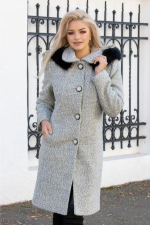 Palton dama lung gri din lana cu gluga cu blanita neagra foarte elegant pentru un look fabulos in zilele racoroase Victoria
