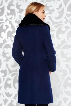 Palton dama albastru inchis elegant cu guler sal de blana detasabil fabricat din stofa groasa pe captuseala matlasata