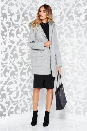Palton gri office casual cu gluga realizat din material gros pe captuseala satinata si delicata intr-o croiala dreapta  cu cusaturi decorative