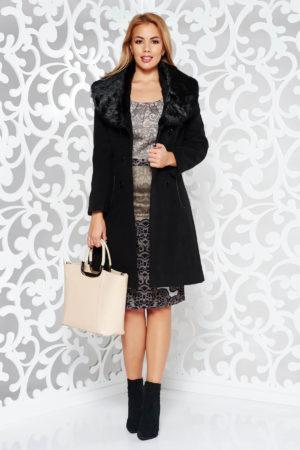 Palton dama negru elegant cu guler sal de blana detasabil fabricat din stofa groasa pe captuseala matlasata