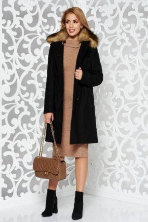 Palton dama negru elegant de ocazie cu o croiala feminina in A realizat din lana calduroasa si accesorizat cu blana ecologica