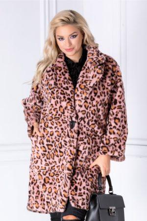 Palton roz elegant de ocazie cu animal print realizat din blana ecologica pentru o tinuta indrasneata si stylish