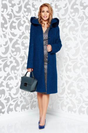 Palton lung si drept turcoaz elegant cu gluga detasabila cu blana naturala fabricat din material gros boucle din lana captusit pe interior